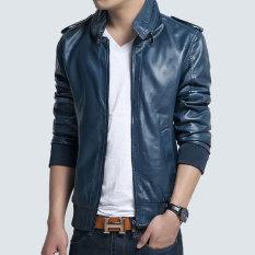 Spring And Autumn Korean Men's Leather Jacket Male Slim Mandarin Collar Zipper Leather Coat Fashion Casual Locomotive Leather Jacket-Blue - Intl