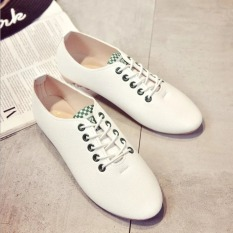 Spring And Autumn Leather Flat Breathable Lace-up Joker Sneakers Casual Shoes Green
