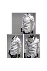 Spring Autumn Fur Collar Oblique Zipper Slim Fit Men's Fleece Hoodie Jacket Sweatshirt - Size M White