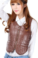 Spring Autumn Polka Dots Slim Down Jacket Vest (Brown) (Intl)