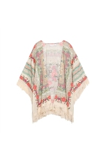 Spring Autumn Women's Girls Floral Printing Long Loose Knitted Cardigan Shawl Cape Sweater Coat - Size S