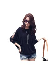 Spring Summer Round Neck Mesh Batwing Long Sleeves Women's Loose T-shirt Blouse Tops - Size XL Black
