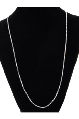 Stainless Steel 1.4mm Silver Tone Box Chain Necklace 52.3cm
