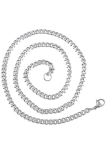 Stainless Steel Chunky Curb Chain Necklace Silver Tone 56.5cm Long