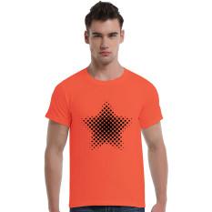 Star-Dotted Pattern Cotton Soft Men Short T-Shirt (Orange)