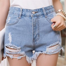 Street Fashion Women High Waist Short Jeans Pants with Hole HPT020 Blue (Intl)