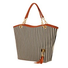 Stripe Design Tote Single Casual Shoulder Canvas Bag Women Shoulder Messenger Bag Black (Intl)