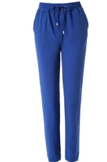Stylish Elastic Waist Solid Colir Loose-Fittng Women's Harem Pants (Blue)