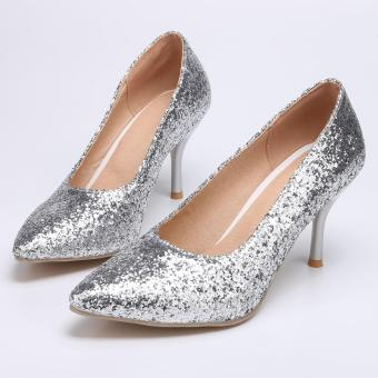 Stylish Glitter Pointed Toe Stiletto High Heel Pumps For Wedding Party(Silver) - intl