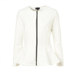 Stylish Ladies Women Casual Long Sleeve Zipper Solid Slim Ruched Coat Outwear Jacket Overcoat - Intl