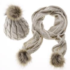 Stylish New Women's Ladies Knitted Winter Warm Faux Fur Ski Hat Scarf Set - Intl
