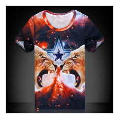 Stylish Printing 3D Animal Men Short Sleeve T Shirt 3D Star And Leopard M - Intl