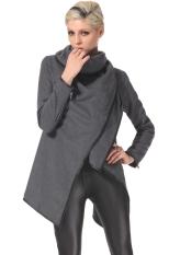 Stylish Women's Korean Casual Fashion Long Sleeve Asymmetry Thick Warm Outwear Long Cardigan Coat Jacket Trench