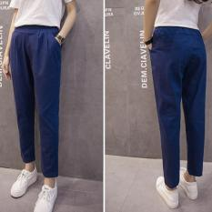 Summer And Autumn New Cotton Pants Nine Womens Leisure Pants Loose Tight Waist Fat Mm Code Haren Pants (Blue) - Intl