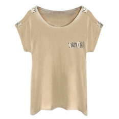 Summer Comfortable Pure Color T-shirt Khaki - Intl