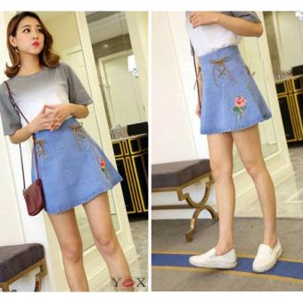 summer embroidery denim skirts package hip skirt female - intl
