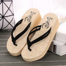 Summer Fashion Wedges Platform Shoes Anti Slip Clip Drag Thick Bottom Flip Flops Ladies Beach Shoes Pinch Pure Cool Slippers- Black - intl