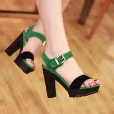 Summer high-heeled fish mouth sexy women sandals(green) - intl