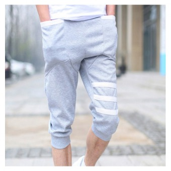 Promotions & Catalogs Casual Black Elastic Waist Pockets Denim Pants Source · Summer men 7 minutes of pants sports ICONS haroun pants grey