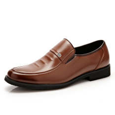 Summer New Men's Business Casual Leather Shoes (Yellow)
