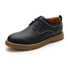 Summer New Men's Casual Wear Breathable Leather Shoes (Black) - Intl