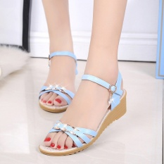 Summer new platform sandals female Bohemia thick bottom high-heeled shoes one word with wedge sandals - intl