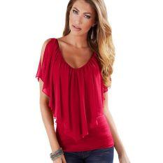 Summer Sexy Women Chiffon Top V-neck Short-sleeved Flounced Chiffon Backless Strapless Tops Elegant Bat Shirt Solid Color Chiffon Red - Intl