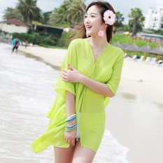 Summer Women Fashion Candy Color Pure Color Variety Chiffon Beachwear Pearl Button Yarn Clothing Sun Clothes (Aqua) - intl
