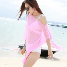 Summer Women Fashion Candy Color Pure Color Variety Chiffon Beachwear Pearl Button Yarn Clothing Sun Clothes (Pink) - intl