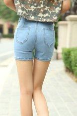 Summer Women High Waist Denim Shorts Brief Slim Hot Pants Short Jeans (Light Blue) (Intl)