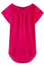 Summer Women's Casual Loose Hollow Short Sleeve Chiffon Shirt T-shirt (Rose Red) (Intl)