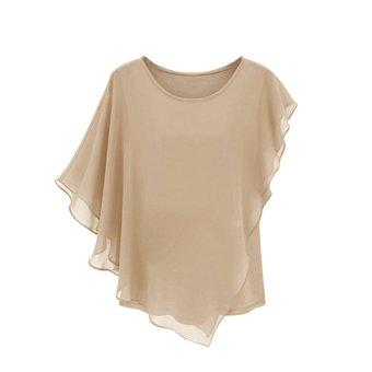 Summer Women''s Short-sleeved T-shirt Flounced Chiffon Blouse Tops Bat