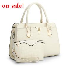 SUNNY SHOP Fashion Patent PU Leather Handbags Socialite Crocodile Grain Women Messenger Bags Fashion Women Shoulder Bags (Beige)