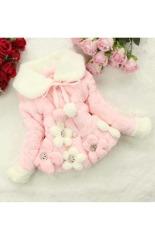 Sunweb cewek lucu musim dingin lima bunga imitasi bulu kapas pakaian jaket mantel tebal (berwarna merah muda) - ต่าง ประเทศ