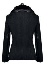 Sunweb Fashion Women's Fur Collar Thick Warm Zipper Jacket Black (Intl)