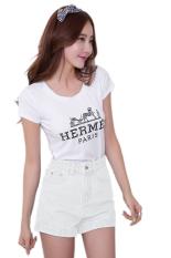 Sunweb Korean Fashion Summer Casual Women Jeans Shorts High Waist Denim Shorts White (Intl)