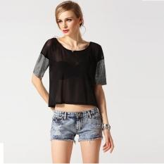 Sunweb New Fashion Lady Women's Short Sleeve O-neck Short T-shirt (Black) - Intl