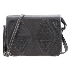 Sunweb New Women Synthetic Leather Geometric Vintage Style Messenger Handbag Shoulder Bag (Black) - Intl