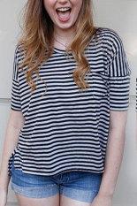 Sunweb Stylish Ladies Women Casual Round Neck Back Heart Shape Hollow Stripe T-Shirt Tops Black (Intl)