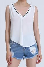 Sunweb Stylish Ladies Women V Neck Irregular Hem Patchwork Casual Chiffon Tank Top Blouse (White)