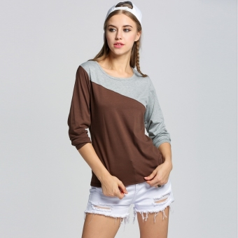Sunweb Sunweb 2012 Womens Splice Casual Long Sleeve Round Neck T-Shirt 5 Colors (Gray)
