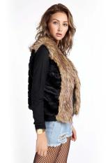 Sunweb Winter Women Faux Fur Vest Sleeveless Lapel Outerwear Jacket Coat Hair Waistcoat Black (Intl)