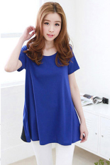 Sunweb Women Casual Round Neck Short Sleeve Floral Lace Stitching Bow Long T-Shirt Blue (Intl)