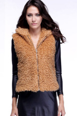 Sunweb Women Fall Winter Faux Fur Vest Winter Sleeveless Luxury Fur Waistcoat Khaki (Intl)