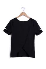 Sunweb Women Fashion Casual Round Neck Short Sleeve Irregular Hem Solid Basic T Shirt Tees (Black)