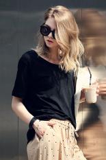 Sunweb Women Summer T Shirt Casual Loose Round Neck Short Sleeve Tops (Black)