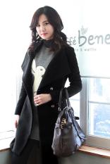 Sunweb Women's Worsted Coat Long Sleeve Tweed Winter Coat Black (Intl)