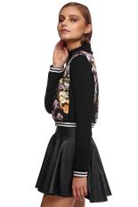 Sunweb Zeagoo Women Casual Slim Long Sleeve Floral Patchwork Zip Up Short Jacket (Black) (Intl)