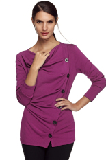 Sunwonder ACEVOG Stylish Lady Women Casual Long Sleeve Draped Neck Button Decoration Long Top Bottoming Shirt Solid Warm Blouse (Purple) (Intl)