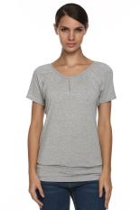 Sunwonder Angvns Stylish Ladies Women V Neck Short Sleeve Casual Leisure Loose Solid T-Shirt (Grey) (Intl)